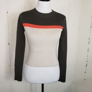 Forever 21 M block tri color ribbed sweater